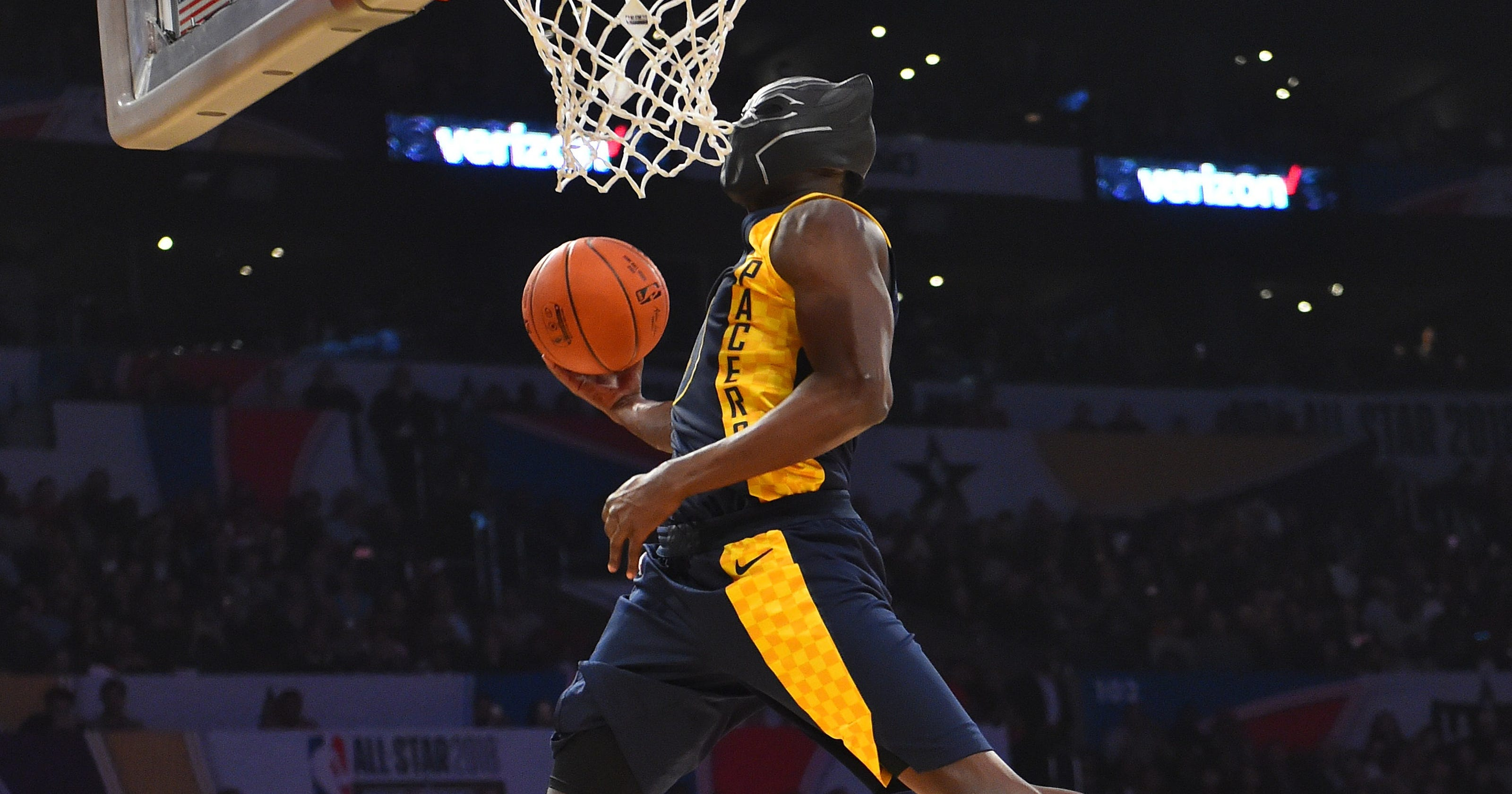 victor oladipo takes flight becomes black panther in nba dunk contest