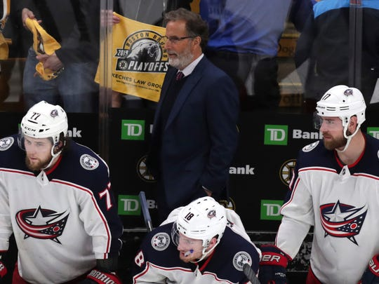 Blue Jackets coach John Tortorella and his players watch from the bench during the final seconds of the third period of Game 5 against the Bruins.