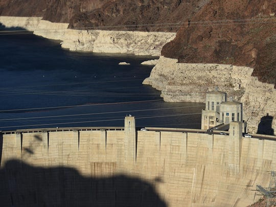 """The Hoover Dam and the """"bathtub ring"""" at Lake Mead are seen on March 13, 2015."""