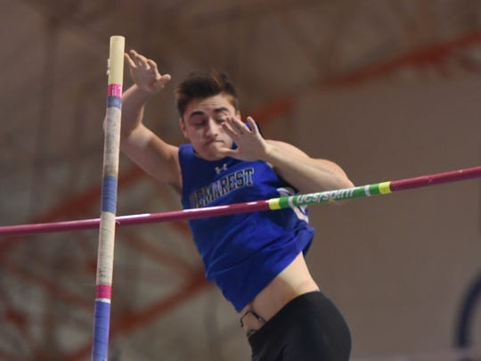 Jason Mezhibovsky, of NV/Demarest, takes second in the pole vault at the Bergen County Championships in the Armory Track Center in New York on Wednesday, Feb. 15, 2017.