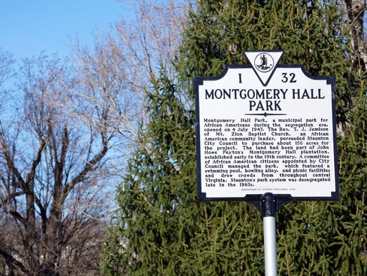 Montgomery Hall Park historical marker