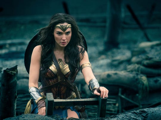 "Wonder Woman (Gal Gadot) heads into battle in ""Wonder Woman."""