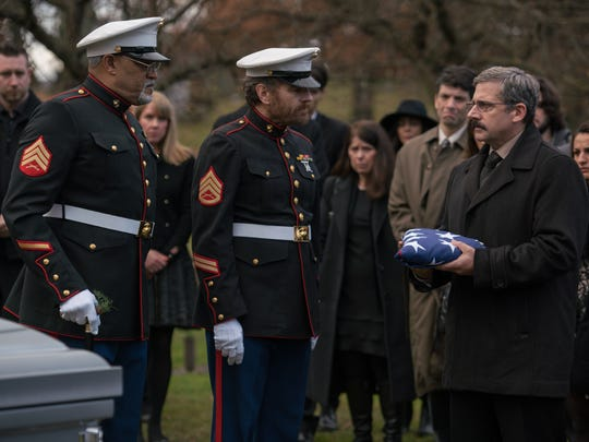 """From L to R: Laurence Fishburne as """"Mueller,"""" Bryan Cranston as """"Sal"""" and Steve Carell as """"Larry"""" in """"Last Flag flying."""""""