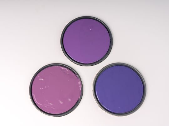 From left, Benjamin Moore: Ultra Violet 1372; Sherwin Williams: 6982 African Violet; and Kelly Moore: Spirit Dance 5632-5.