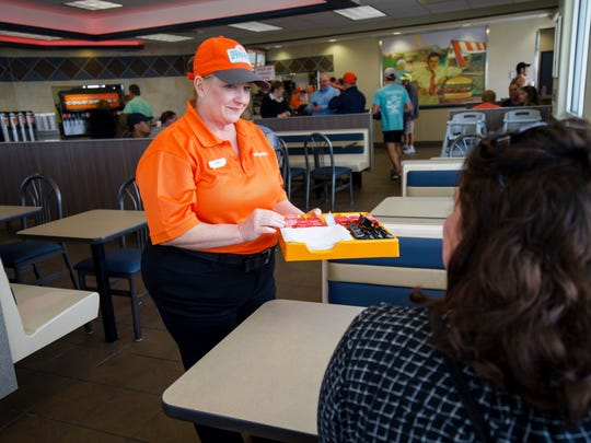 Cathy Bellah works at Whataburger.