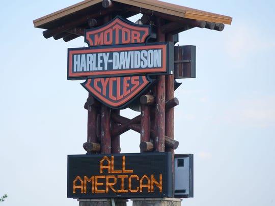 The sign for Colorado's largest Harley-Davidson dealership,