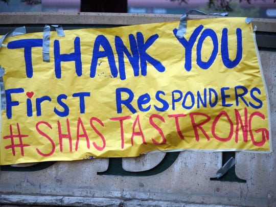 A sign thanks first responders who fought the Carr Fire near Redding, Calif.