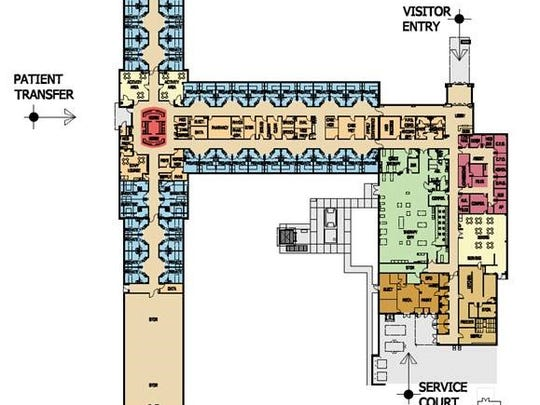 A floor plan for the new West Tennessee Rehabilitation Hospital that will be built at 616 W. Forest Ave.