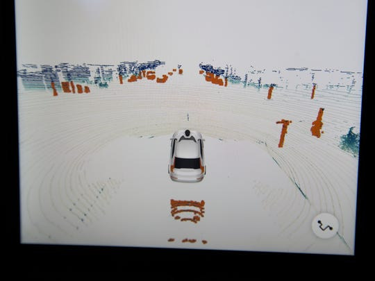 A LIDAR screen is seen in the backseat of a Uber self-driving