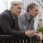LOS ANGELES - MARCH 9: When the body of Congressman Dan McLane, a former NCIS agent, washes ashore in New Orleans, Gibbs (Mark Harmon, left) reunites with his former colleague, NCIS Special Agent Dwayne Cassius Pride (Scott Bakula, right), in a joint case between the two field offices and the FBI, NCIS, scheduled to air on the CBS Television Network. Pictured left to right: Mark Harmon and Scott Bakula. (Photo by Skip Bolen/CBS via Getty Images)