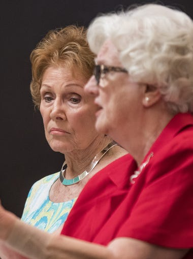 Maricopa County Recorder Helen Purcell, left, who oversaw the election, and county Election Director Karen Osborne explained in detail to Maricopa  County Board of Supervisors about the calculations that went into the decision to reduce the number of polling sites to 60 -- from 200 in 2012 -- and where to locate them.