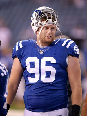 Indianapolis Colts defensive end Henry Anderson (96) before the start of their preseason game Thursday, September 3, 2015, at Lucas Oil Stadium.