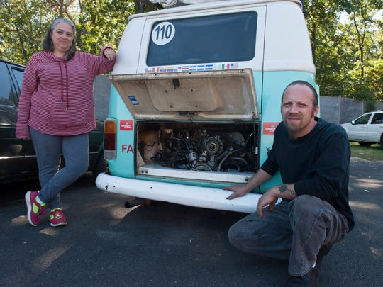 Steven and Nikki Toughill, owners of Die Werkstatt auto repair shop in Hainesport, are fixing this VW bus belonging to Argentinian papal pilgrims free of charge. Wednesday, September 23, 2015.