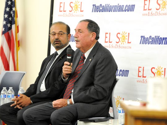 Salinas Mayoral race candidates Amit Pandya and Joe Gunter field questions during the forum.