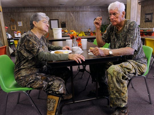 Irma and Bill Miller talk about deer hunting during a special lunch at the Stonewall County Senior Citizens Center in Aspermont Saturday Nov. 4, 2017. The Millers came from Dallas for the weekend. Saturday was opening day for deer season, a number of Big Country communities held special meals to welcome hunters.