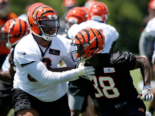 Cincinnati Bengals cornerback Darius Phillips (38) res through a play during practice in the second week of OTAs at the Cincinnati Bengals practice facility in downtown Cincinnati on Tuesday, May 29, 2018.