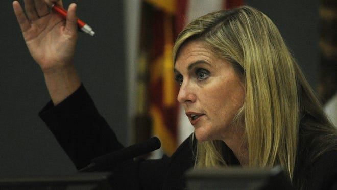 Kelly Long, a candidate for Ventura County supervisor, speaks at a candidate forum in the Port Hueneme City Council chambers.