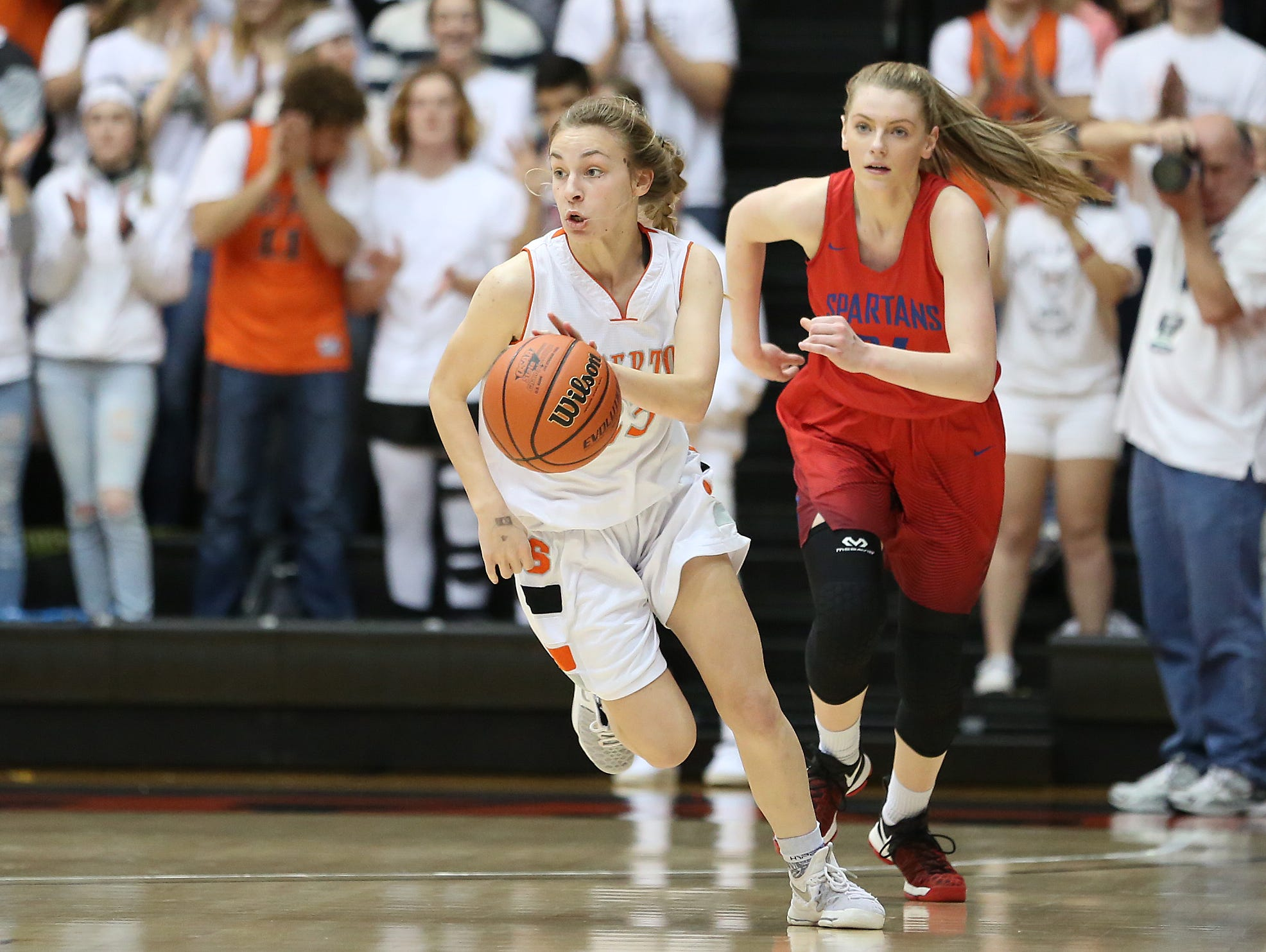 Silverton's Paige Alexander and the Foxes defeat Hillsboro 51-27 in the OSAA Class 5A state quarterfinals on Wednesday, March 8, 2017, at Gill Coliseum in Corvallis.