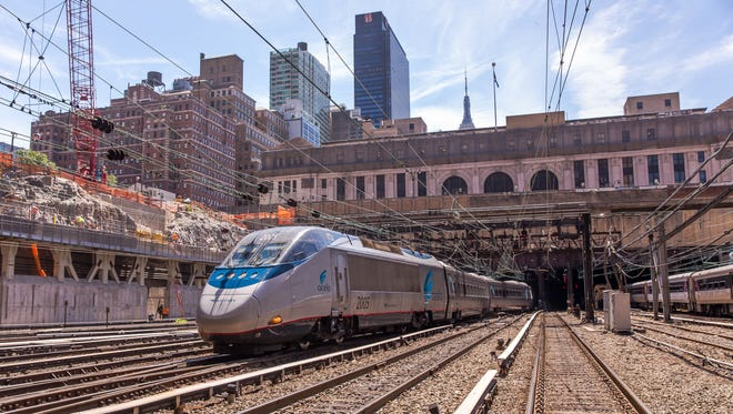 The Acela Express trains pulls out of New York's Penn Station.