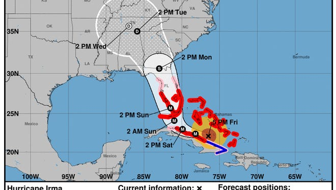 Projected path of Hurricane Irma as of 5 p.m. Friday, Sept. 8, 2017.