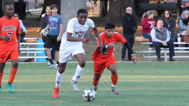 Mesmin Dembassa (19) scored a goal for Bloomfield in a 6-0 win over Eagle Academy.