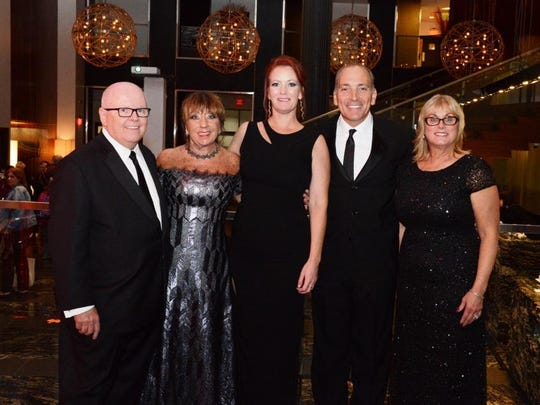 The Auxiliary of Robert Wood Johnson University Hospital (RWJUH) celebrated 60-years of service to RWJUH during its 57th Annual Ball at the Hyatt in New Brunswick. From left to right, the honorees, Stephen and Barbara Jones with Auxiliary Immediate Past President Claire Drain; RWJUH President and CEO Michael Antoniades; and Auxiliary Treasurer Michele Pascetta.