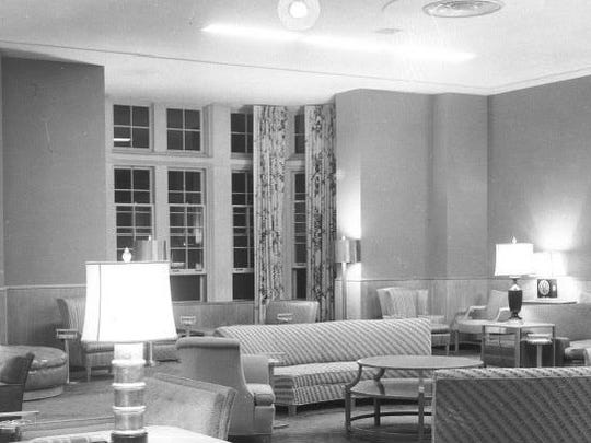 The Women's Lounge at the MSU Union, as it appeared in the late 1940s. Photo is courtesy of Michigan State University Archives and Historical Collections.