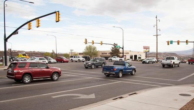 High numbers of vehicles slow traffic through St. George Blvd. near 1000 East Thursday, March 31, 2016. A proposed sales tax increase could provide funds for a future road widening.