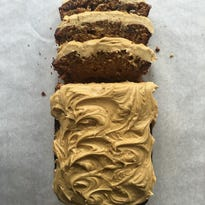 Date cake with coffee frosting.