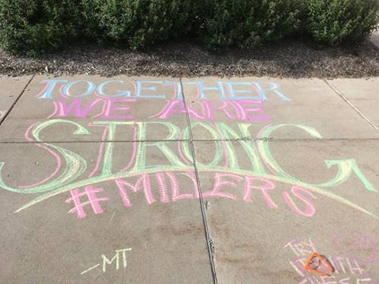 Encouraging chalk art lined the sidewalks around Noblesville West Middle School as students returned to school for the first time since the May 25, 2018 shooting.