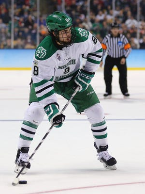 North Dakota's Drake Caggiula, who layed for Flyers head coach Dave Hakstol, is considered to be among the best of the undrafted free agent class.