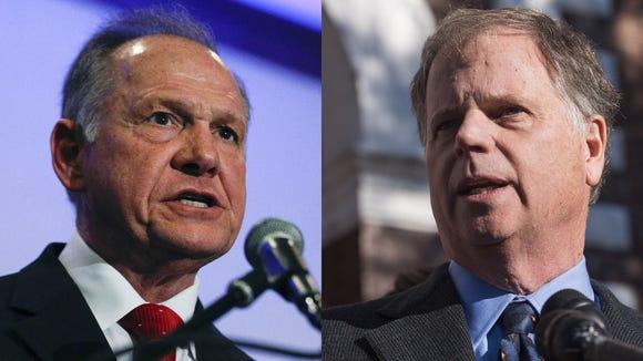 U.S. Senate candidates Roy Moore, left, and Doug Jones.