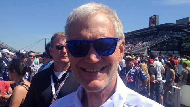 David Letterman pauses for a photo before the 2014 Indianapolis 500.