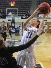 ACU's Sara Williamson, right, is called for a charge