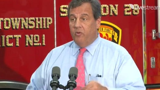 Gov. Chris Christie is speaking at the East Dover Firehouse in Toms River.