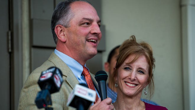 Democrat state Rep. John Bel Edwards was joined by his wife, Donna Edwards, during the opening of his Lafayette campaign headquarters Oct. 29.