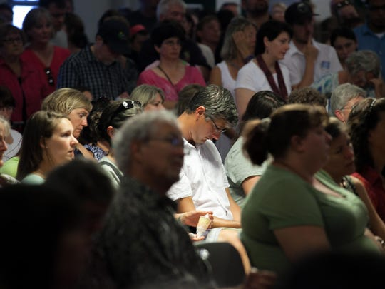 Hundreds pack in the the Old Labor Hall in Barre, Vermont to mourn the loss of Lara Sobel. KEVIN HURLEY/for the FREE PRESS