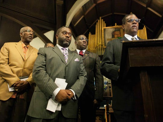 """""""We want to see justice being done,"""" says Rev. Silvester Beaman (right), president of the Interdenominational Ministers Action Council, during a Thursday morning press conference at Mother African Union Church in Wilmington. The group is calling for justice in the shooting of Jeremy McDole."""
