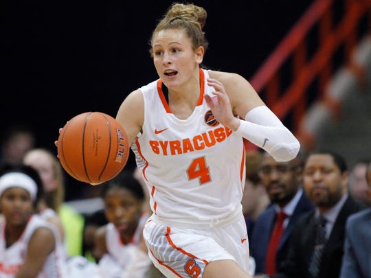 """FILE - In this Jan. 23, 2019, file photo, Syracuse's Tiana Mangakahia dribbles down court in the second quarter of an NCAA basketball game against Miami in Syracuse, N.Y. Mangakahia is halfway through treatment for breast cancer and says she often wonders """"Why me?"""" One of the top women's basketball players in the country and a player who nearly elected to enter the WNBA draft, the star from Australia says the feedback from doctors has been good and she'll receive more tests Friday updating the status of her recovery. (AP Photo/Nick Lisi, File)"""
