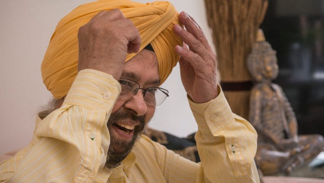 Talking turbans is part of his comedy. Iqbal Bhan has more than 200 of them.