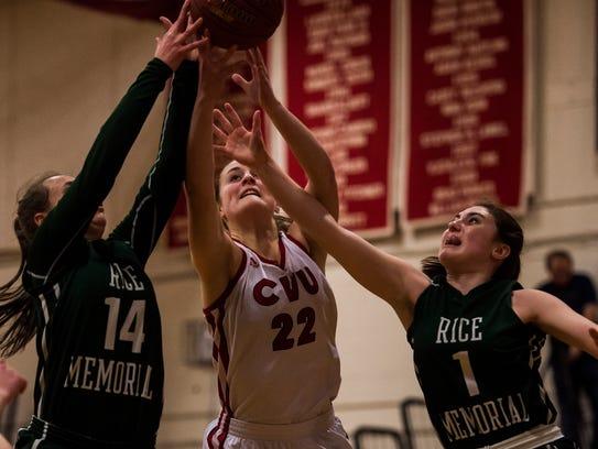 CVU #22 Lindsey Albertelli fights for the rebound against