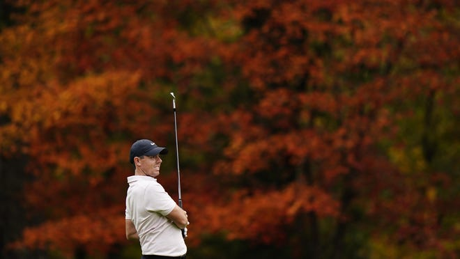 Rory McIlroy watches his shot on the 11th hole during a practice round for the Masters on Tuesday at Augusta National.