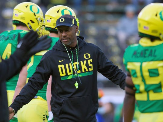 Nov 18, 2017; Eugene, OR, USA; Oregon Ducks head coach Willie Taggart walks on the field before the game against the Arizona Wildcats at Autzen Stadium. Mandatory Credit: Scott Olmos-USA TODAY Sports