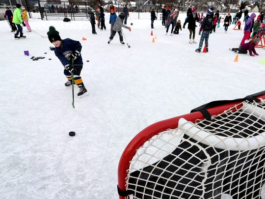 Ilija Ircink, 6, takes his best shot at a hockey goal during the first Shorewood Chill event in 2018.