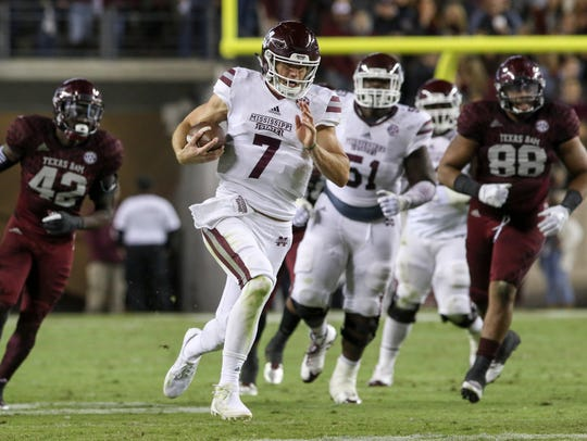 Mississippi State quarterback Nick Fitzgerald, seen here in last season's 35-14 win at Texas A&M in which he had 246 yards total offense and three TDs, would love a repeat performance against the Aggies Saturday in Starkville.