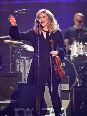Alison Krauss performs at the Merle Haggard Tribute concert at Bridgestone Arena Thursday, April 6, 2017 in Nashville, Tenn.