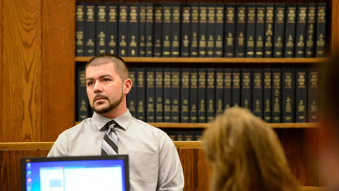 Christopher Torres, 29, of Norwalk, testifies in Sandusky County Common Pleas Court on Thursday before being guilty by a jury for his role in helping jail escapee Mickey Mantle Hardy.