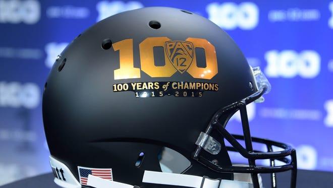 General view of Pac-12 100-year anniversary logo helmet at Pac-12 Media Day at Warner Bros. Studios.