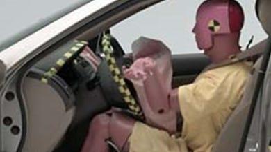 An air bag deploys in a Honda