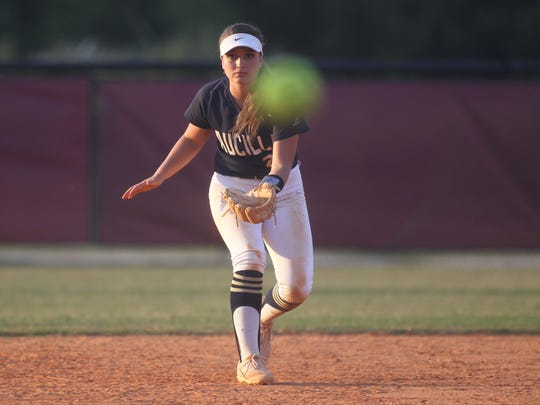 Aucilla Christian shortstop Carly Joiner watches a pitch thrown.